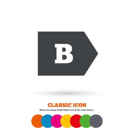 consumo energia: L'efficienza energetica di classe B sign icon. Energia simbolo consumi. Icona piatta Classic. Cerchi colorati. Vettore Vettoriali