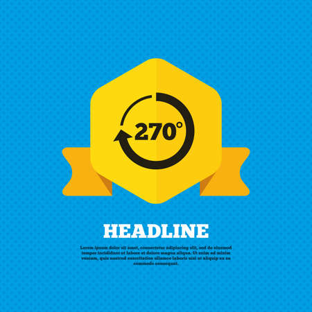 seventy two: Angle 270 degrees sign icon. Geometry math symbol. Yellow label tag. Circles seamless pattern on back. Vector Illustration