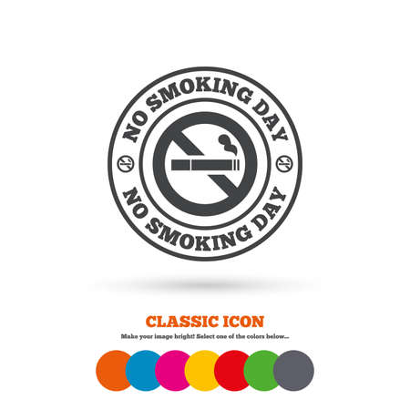 quit smoking: No smoking day sign icon. Quit smoking day symbol. Classic flat icon. Colored circles. Vector