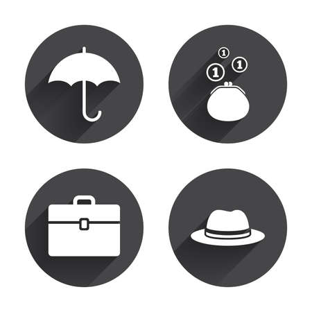 business case: Clothing accessories icons. Umbrella and headdress hat signs. Wallet with cash coins, business case symbols. Circles buttons with long flat shadow. Vector