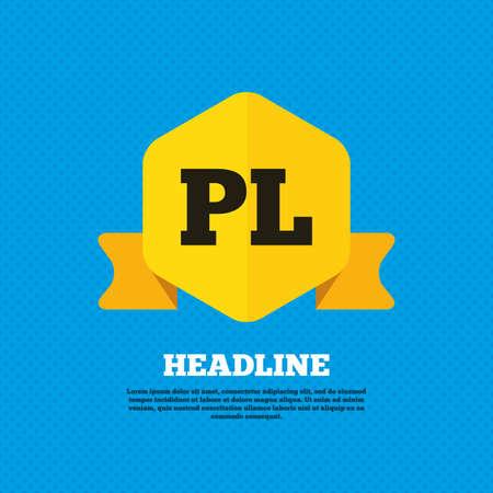 pl: Polish language sign icon. PL translation symbol. Yellow label tag. Circles seamless pattern on back. Vector