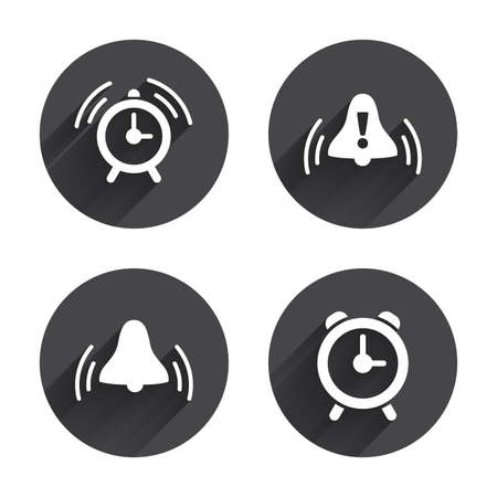 wake up call: Alarm clock icons. Wake up bell signs symbols. Exclamation mark. Circles buttons with long flat shadow. Vector