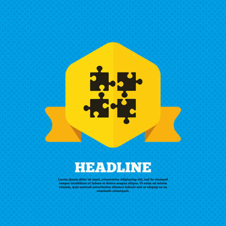 ingenuity: Puzzles pieces sign icon. Strategy symbol. Ingenuity test game. Yellow label tag. Circles seamless pattern on back. Vector