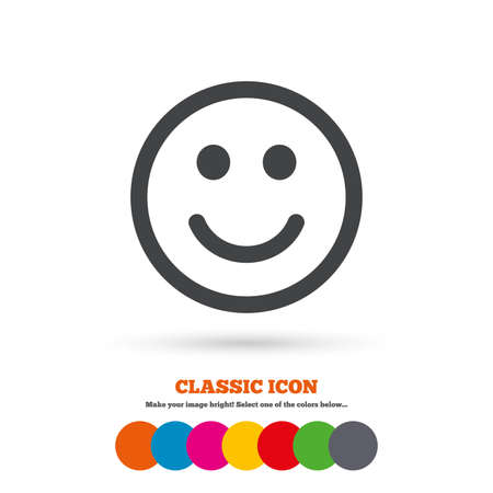 smile face: Smile icon. Happy face chat symbol. Classic flat icon. Colored circles. Vector