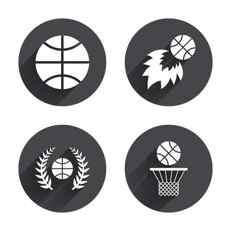 fireball: Basketball sport icons. Ball with basket and fireball signs. Laurel wreath symbol. Circles buttons with long flat shadow. Vector