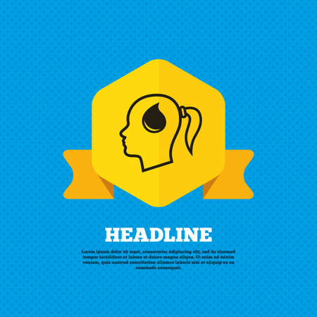 head tag: Head with blood drop sign icon. Female woman human head symbol. Yellow label tag. Circles seamless pattern on back. Vector