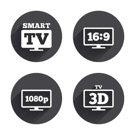 aspect: Smart TV mode icon. Aspect ratio 16:9 widescreen symbol. Full hd 1080p resolution. 3D Television sign. Circles buttons with long flat shadow. Vector Illustration