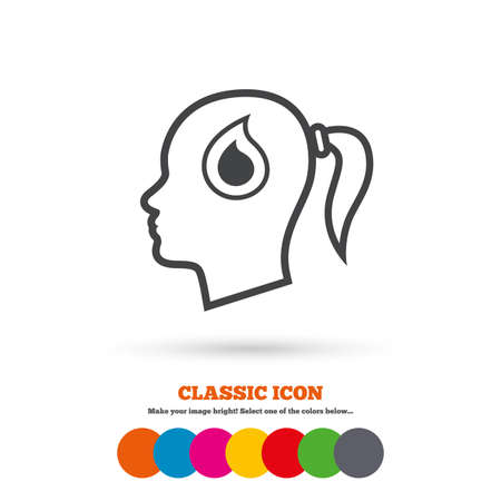 classic woman: Head with blood drop sign icon. Female woman human head symbol. Classic flat icon. Colored circles. Vector Illustration