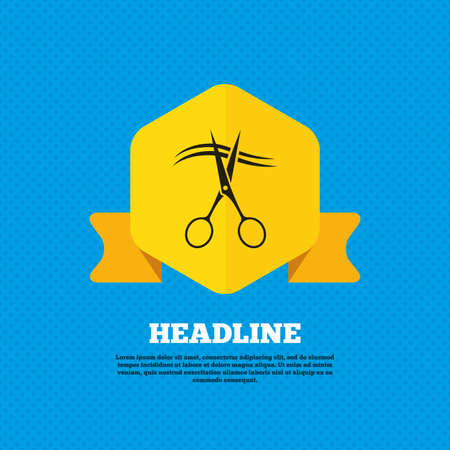 yellow hair: Scissors cut hair sign icon. Hairdresser or barbershop symbol. Yellow label tag. Circles seamless pattern on back. Vector Illustration