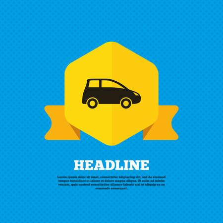 hatchback: Car sign icon. Hatchback symbol. Transport. Yellow label tag. Circles seamless pattern on back. Vector Illustration