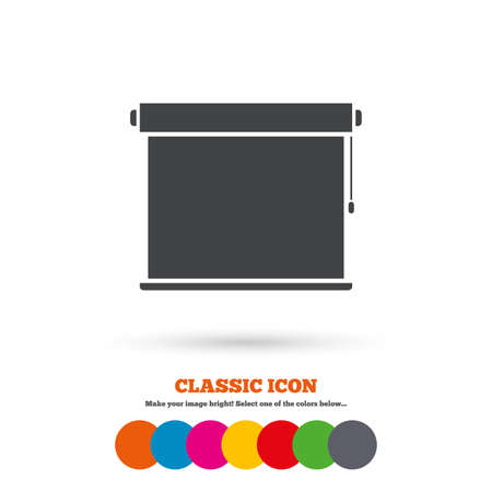 blinds: Louvers rolls sign icon. Window blinds or jalousie symbol. Classic flat icon. Colored circles. Vector Illustration
