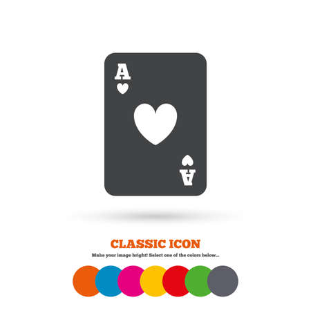 ace of hearts: Casino sign icon. Playing card symbol. Ace of hearts. Classic flat icon. Colored circles. Vector Illustration