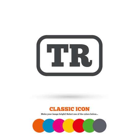 tr: Turkish language sign icon. TR Turkey translation symbol with frame. Classic flat icon. Colored circles. Vector Illustration