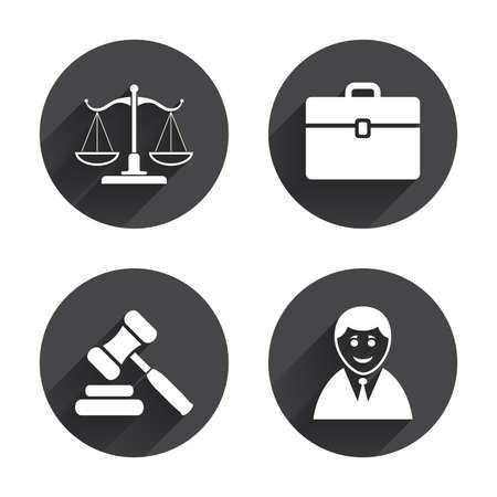 auction: Scales of Justice icon. Client or Lawyer symbol. Auction hammer sign. Law judge gavel. Court of law. Circles buttons with long flat shadow. Vector