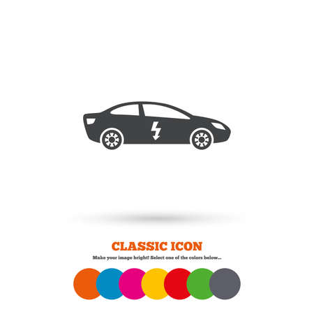 saloon: Electric car sign icon. Sedan saloon symbol. Electric vehicle transport. Classic flat icon. Colored circles. Vector
