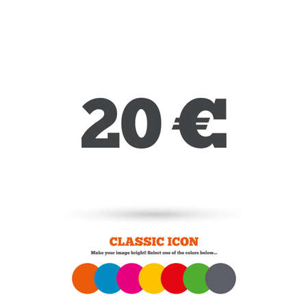 20 euro: 20 Euro sign icon. EUR currency symbol. Money label. Classic flat icon. Colored circles. Vector