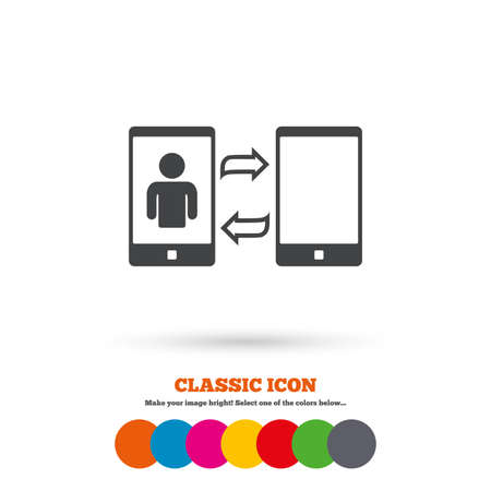 video call: Change Video call to simple call sign icon. Smartphone symbol. Classic flat icon. Colored circles. Vector