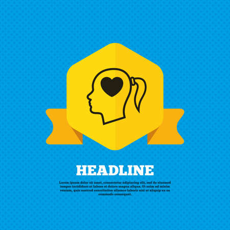 woman back of head: Head with heart sign icon. Female woman human head in love with pigtail symbol. Yellow label tag. Circles seamless pattern on back. Vector