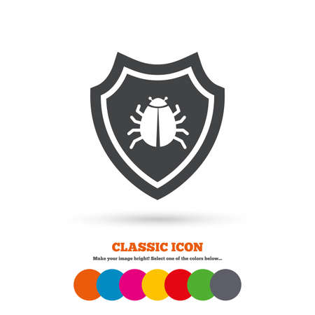 virus protection: Shield sign icon. Virus protection symbol. Bug symbol. Classic flat icon. Colored circles. Vector