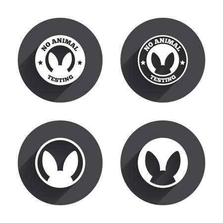 animals shadow: No animals testing icons. Non-human experiments signs symbols. Circles buttons with long flat shadow. Vector