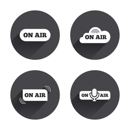 long live: On air icons. Live stream signs. Microphone symbol. Circles buttons with long flat shadow. Vector Illustration