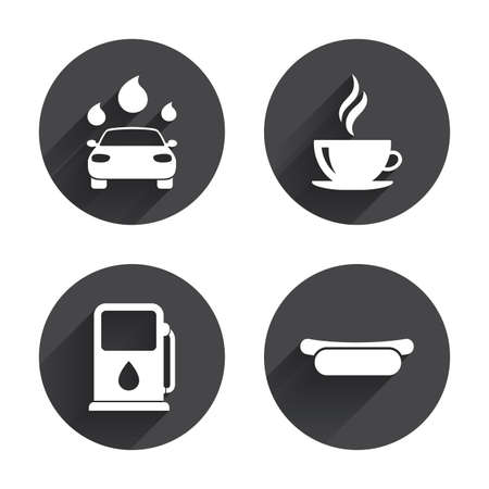 automated: Petrol or Gas station services icons. Automated car wash signs. Hotdog sandwich and hot coffee cup symbols. Circles buttons with long flat shadow. Vector Illustration
