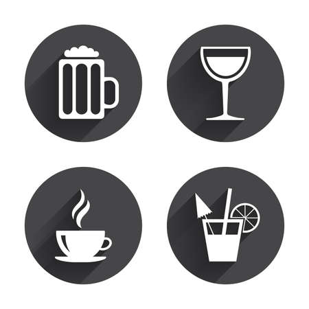 glass button: Drinks icons. Coffee cup and glass of beer symbols. Wine glass and cocktail signs. Circles buttons with long flat shadow. Vector Illustration