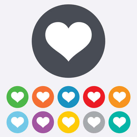 11: Love icon. Heart sign symbol. Round colourful 11 buttons. Vector Illustration