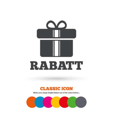 Rabatt - Rabatte in deutschen Zeichen Symbol. Geschenkbox mit Bändern Symbol. Klassische flache Ikone. Farbige Kreise. Vektor Standard-Bild - 44000063
