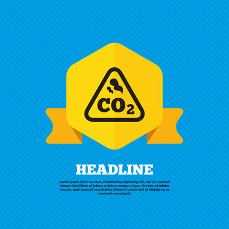 dioxide: CO2 carbon dioxide formula sign icon. Chemistry symbol. Yellow label tag. Circles seamless pattern on back. Vector Illustration
