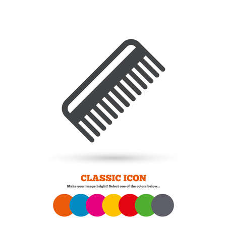 comb hair: Comb hair sign icon. Barber symbol. Classic flat icon. Colored circles. Vector Illustration