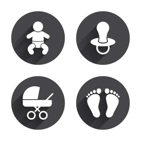 buggy: Baby infants icons. Toddler boy with diapers symbol. Buggy and dummy signs. Child pacifier and pram stroller. Child footprint step sign. Circles buttons with long flat shadow. Vector Illustration