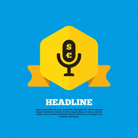 Microphone icon. Speaker symbol. Paid music sign. Yellow label tag. Circles seamless pattern on back. Vector