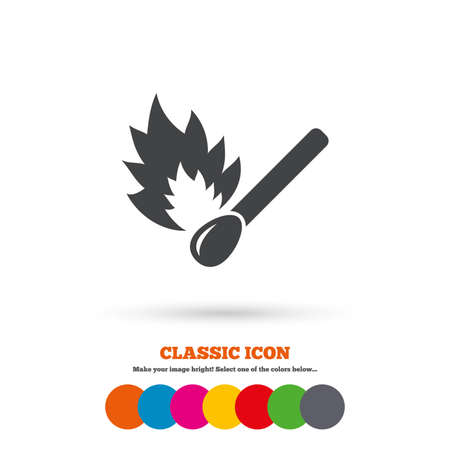 burns: Match stick burns icon. Burning matchstick sign. Fire symbol. Classic flat icon. Colored circles. Vector