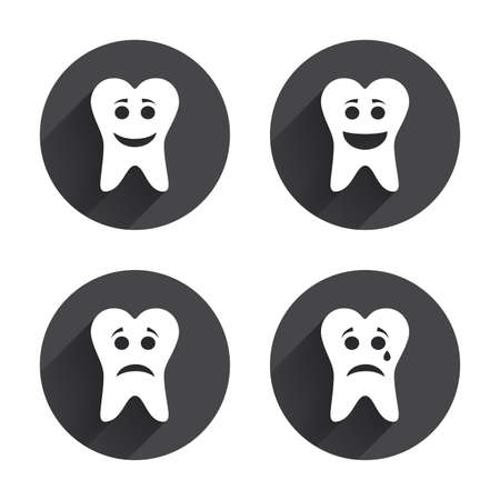 long depression: Tooth smile face icons. Happy, sad, cry signs. Happy smiley chat symbol. Sadness depression and crying signs. Circles buttons with long flat shadow. Vector Illustration