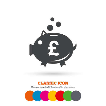 pound symbol: Piggy bank sign icon. Moneybox pound symbol. Classic flat icon. Colored circles. Vector