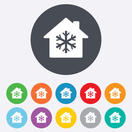 Air conditioning indoors icon. Snowflake sign. Round colourful 11 buttons. Vector