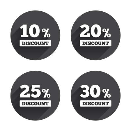 20 25: Sale discount icons. Special offer price signs. 10, 20, 25 and 30 percent off reduction symbols. Circles buttons with long flat shadow. Vector