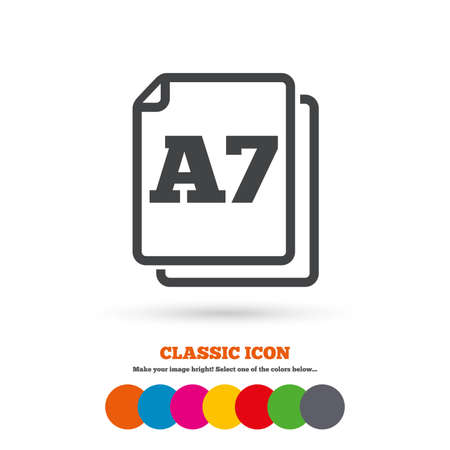 a7: Paper size A7 standard icon. File document symbol. Classic flat icon. Colored circles. Vector