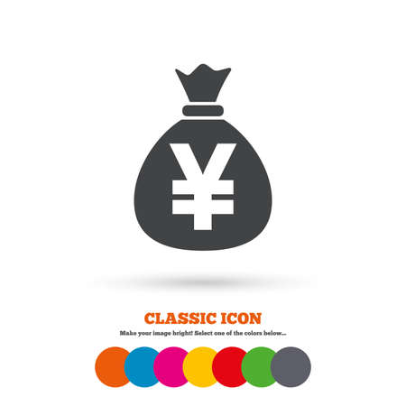 jpy: Money bag sign icon. Yen JPY currency symbol. Classic flat icon. Colored circles. Vector Illustration