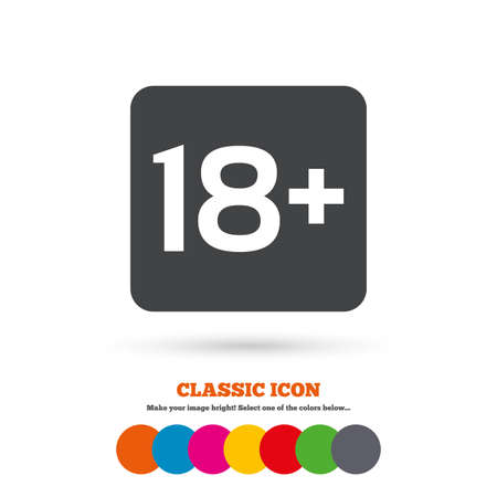 18 years old: 18 years old sign. Adults content only icon. Classic flat icon. Colored circles. Vector Illustration
