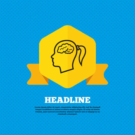 head tag: Head with brain sign icon. Female woman human head think symbol. Yellow label tag. Circles seamless pattern on back. Vector Illustration