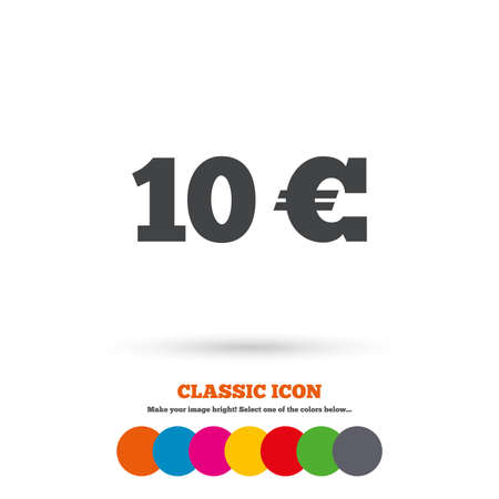 eur: 10 Euro sign icon. EUR currency symbol. Money label. Classic flat icon. Colored circles. Vector