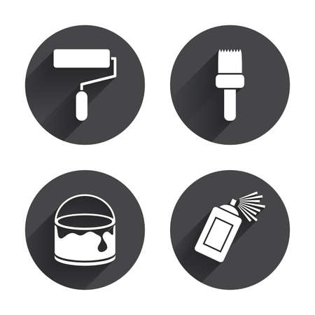 roller brush: Painting roller, brush icons. Spray can and Bucket of paint signs. Wall repair tool and painting symbol. Circles buttons with long flat shadow. Vector Illustration
