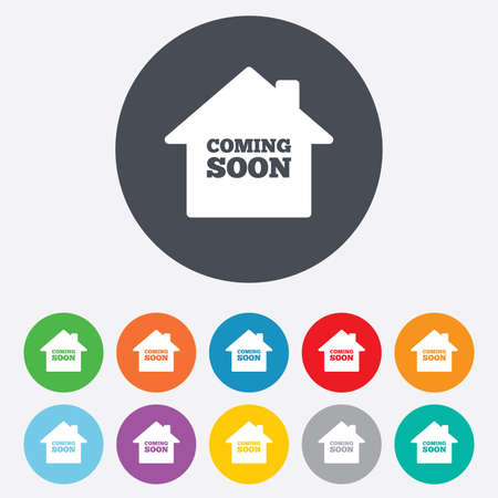Homepage coming soon sign icon. Promotion announcement symbol. Round colourful 11 buttons. Vector