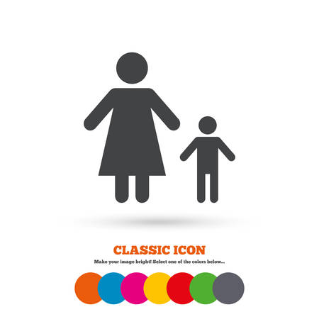 family with one child: One-parent family with one child sign icon. Mother with son symbol. Classic flat icon. Colored circles. Vector