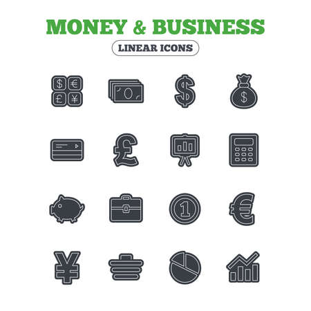 cashless: Money and business icons. Cash and cashless money. Usd, eur, gbp and jpy currency exchange. Presentation, calculator and shopping cart symbols. Line icon with black border. Vector