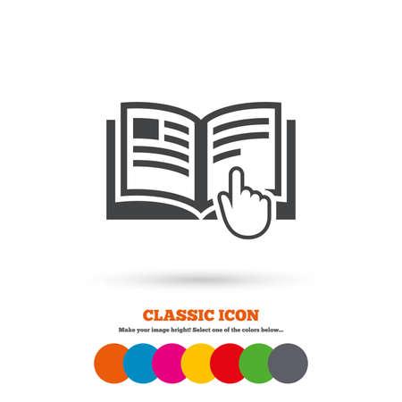 Instruction signe icône. Manuel symbole de livre. Lire avant utilisation. Icône plat classique. Cercles colorés. Vecteur