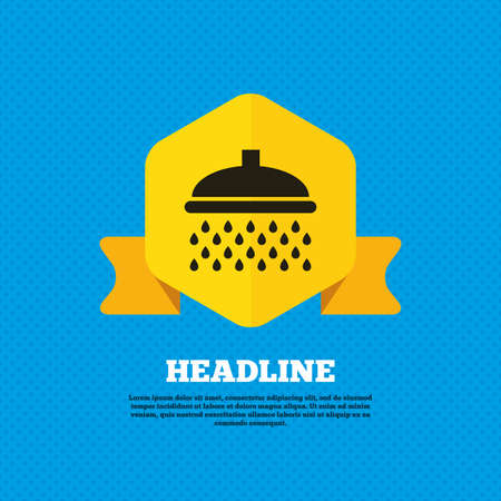 douche: Shower sign icon. Douche with water drops symbol. Yellow label tag. Circles seamless pattern on back. Vector