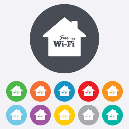 wifi sign: Home wifi sign. Wifi symbol. Wireless Network icon. Wifi zone. Round colourful 11 buttons. Vector